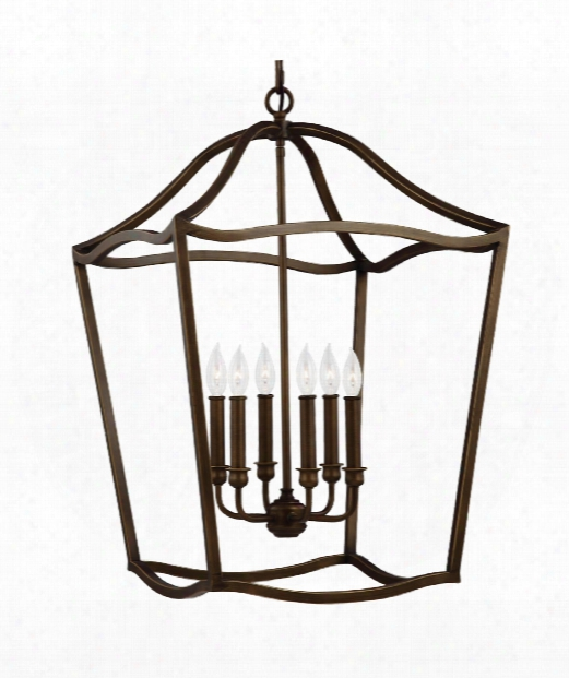 "Yarmouth 20"" 6 Light Foyer Pendant In Painted Aged Brass"