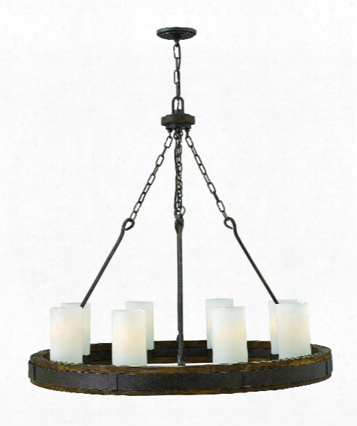 """Cabot 38"""" 8 Light Chandelier In Rustic Iron"""