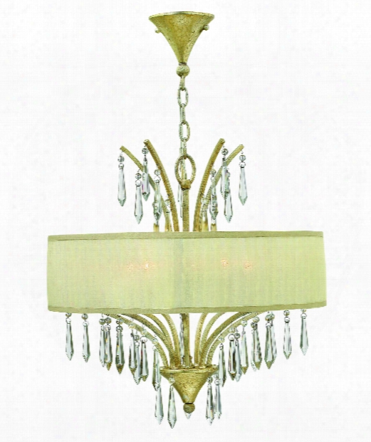 """Camilla 20"""" 5 Light Large Pendant In Silver Leaf"""