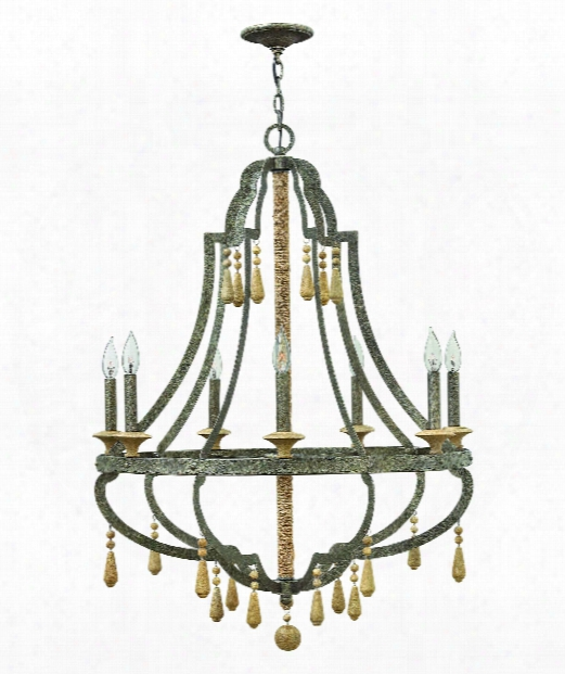 "Cordoba 30"" 7 Light Chandelier In Distressed Iron"