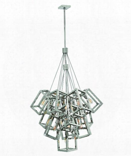 "Ensemble 33"" 13 Light Foyer Pendant In Polished Nickel"