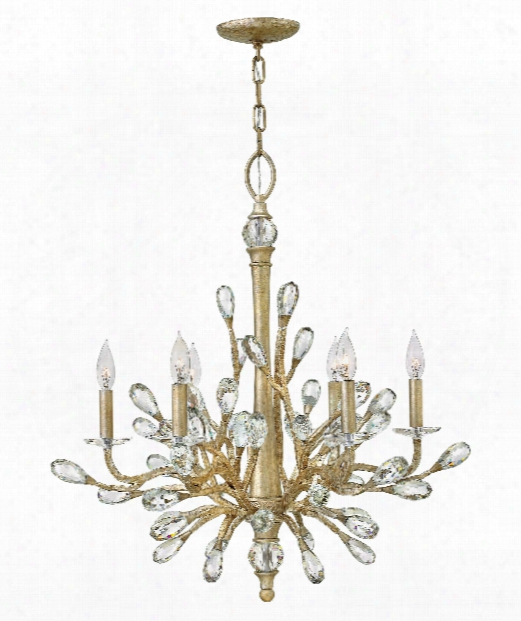 """Eve 26"""" 6 Light Chandelier In Champagne Gold"""