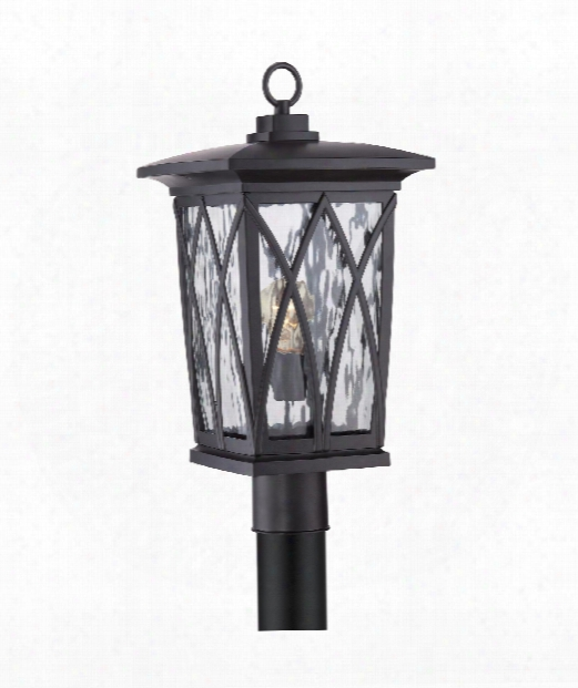 """Grover 11"""" 1 Light Outdoor Outdoor Post Lamp In Mysterious Black"""