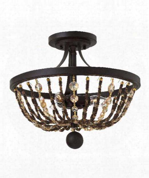 """Hamlet 15"""" 3 Light Semi Flush Mount In Vintage Bronze"""