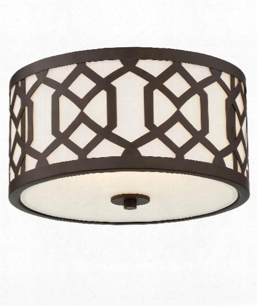 "Jennings 16"" 3 Light Outdoor Outdoor Flush Mount In Dark Bronze"