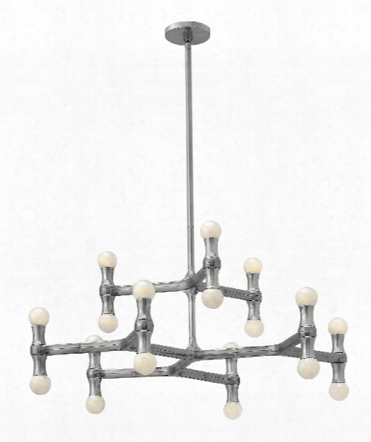 "Karma 31"" 18 Light Large Pendant In Polished Aluminum"