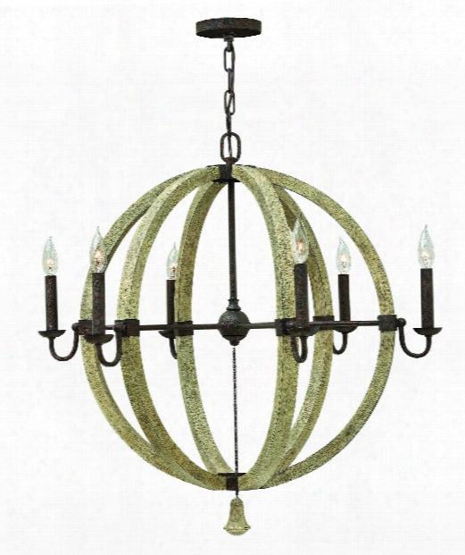 "Middlefield 31"" 6 Light Chandelier In Iron Rust"