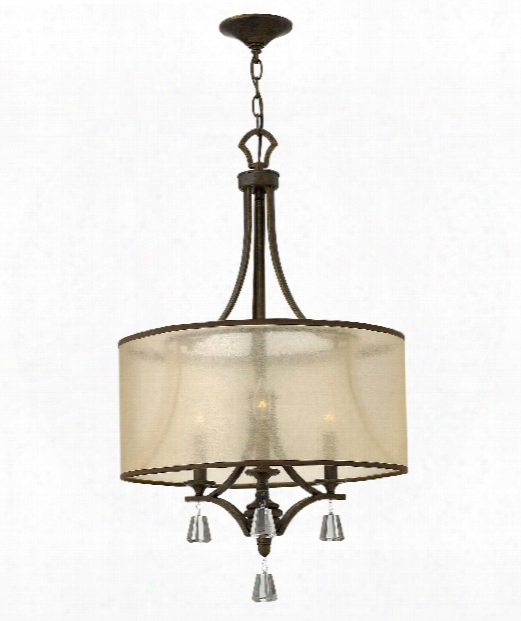 "Mime 19"" 3 Light Mini Chandelier In French Bronze"