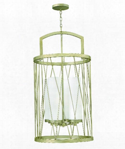 """Nest 21"""" 4 Light Foyer Pendant In Silver Leaf"""