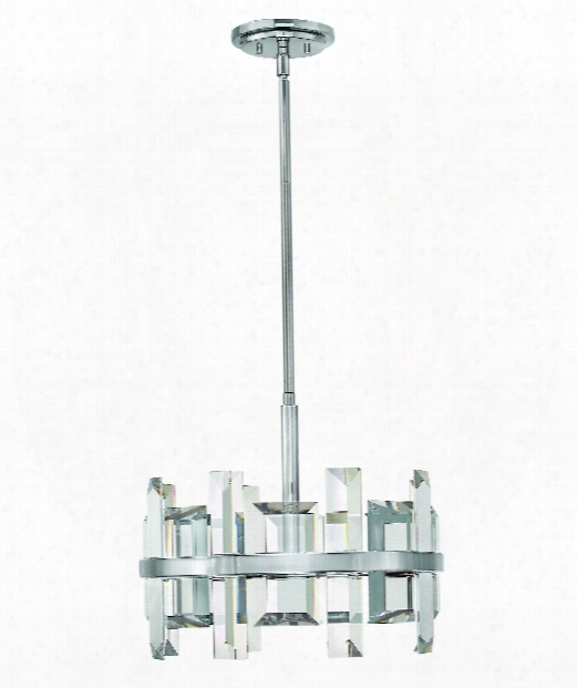 "Odette 17"" 4 Light Mini Pe Ndant In Polished Nickel"