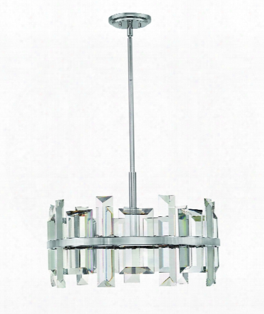 "Odette 24"" 6 Light Large Pendant In Polished Nickel"