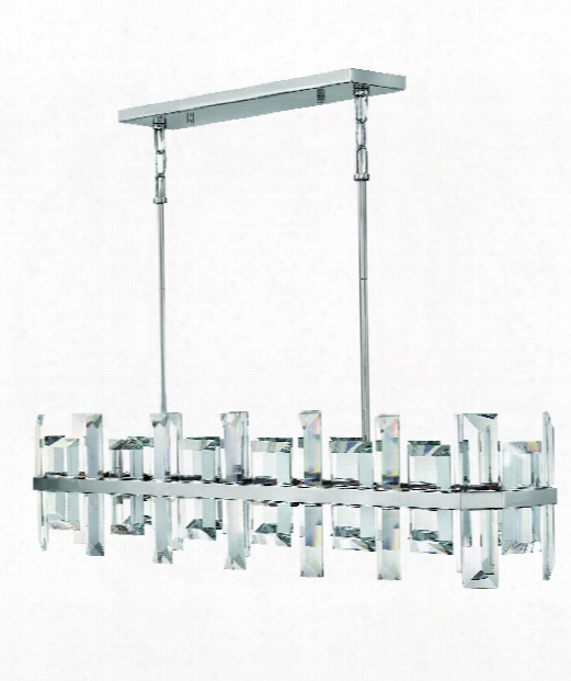 "Odette 42"" 8 Light Island Light In Polished Nickel"