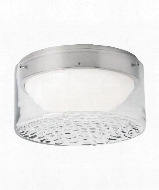 "Precip 9"" Led 1 Light Flush Mount In Satin Nickel"