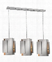 "Stratus 37"" 3 Light Large Pendant in Brushed Nickel"