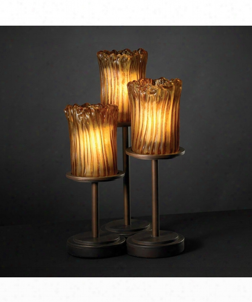 """Veneto Luce Dakota 10"""" 3 Light Table Lamp In Dark Bronze"""