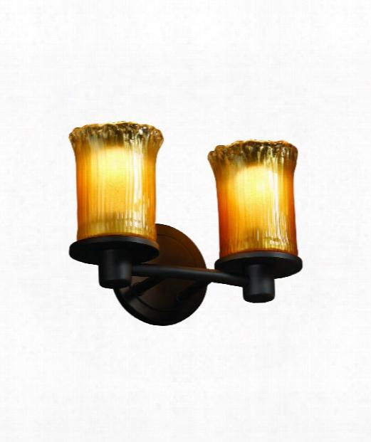 """Veneto Luce Rondo 12"""" 2 Light Bath Vanity Light In Matte Black"""