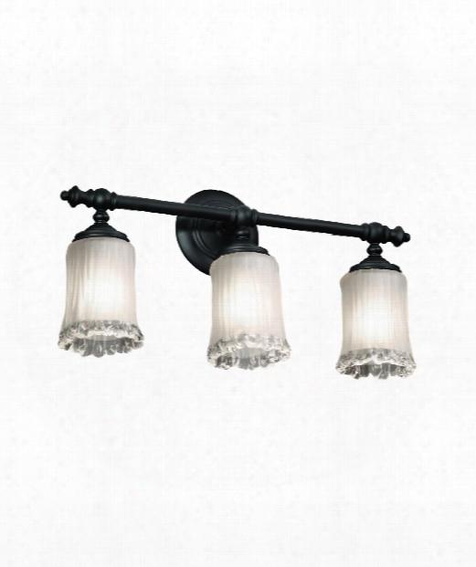 """Veneto Luce Tradition 22"""" 3 Light Bath Vanity Light In Matte Black"""