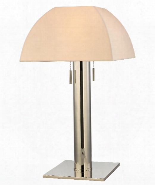 "Alba 13"" 2 Light Table Lamp In Polished Nickel"