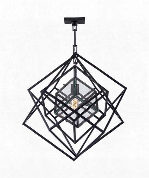 "Cubist 22"" 1 Light Foyer Pendant In Aged Iron"