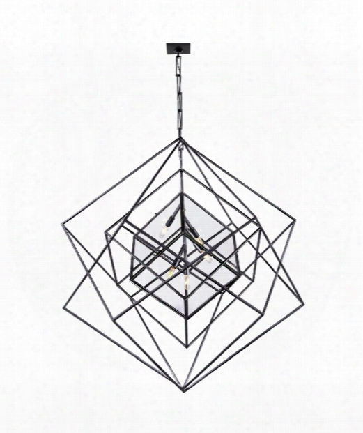 "Cubist 45"" 5 Light Foyer Pendant In Aged Iron"