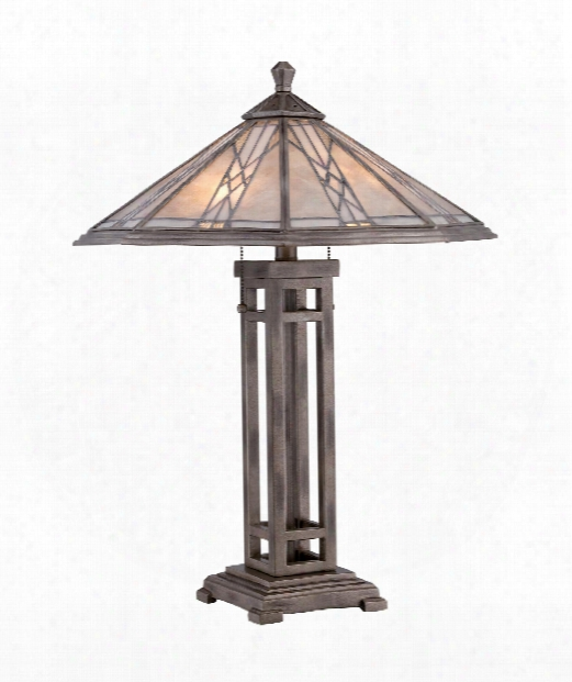 "Cyrus 20"" 2 Light Table Lamp In Anniversary Silver"