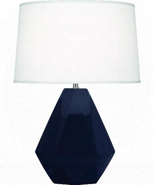 "Delta 10"" 1 Light Table Lamp In Polished Nickel-midnight Blue"