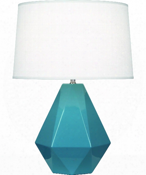 "Delta 10"" 1 Light Table Lamp In Polished Nickel-steel Blue"