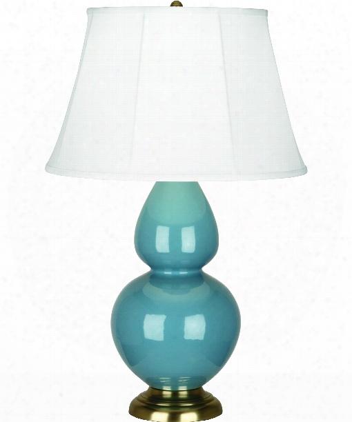 "Double Gourd 7"" 1 Light Table Lamp In Antique Brass-steel Blue"