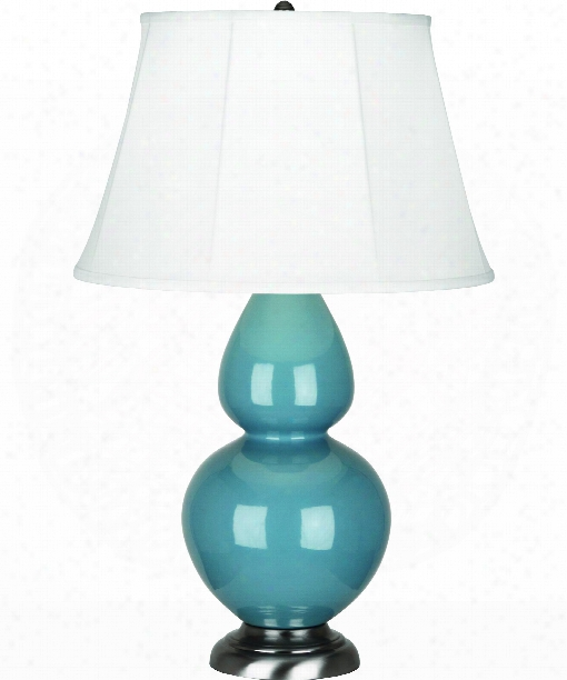 "Double Gourd 7"" 1 Light Table Lamp In Antique Silver-steel Blue"