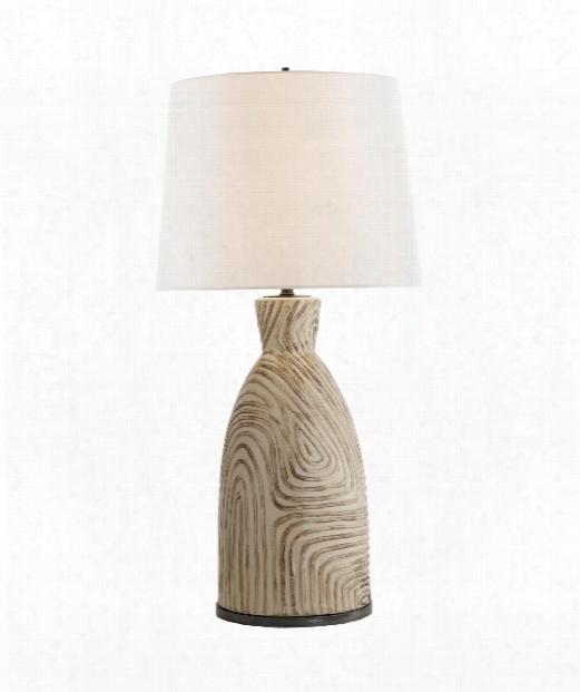 "Effie 8"" 1 Light Table Lamp In Sand And Blue Stripes"