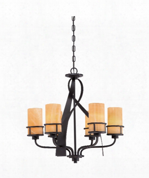 "Kyle 23"" 6 Light Chandelier In Imperial Bronze"
