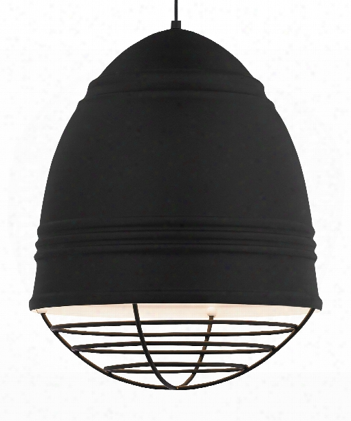 "Loft 17"" 3 Light Large Pendant In Rubberized Black With White Interior"