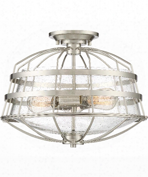 "Maritime 16"" 3 Ligth Semi Flush Mount In Brushed Nickel"
