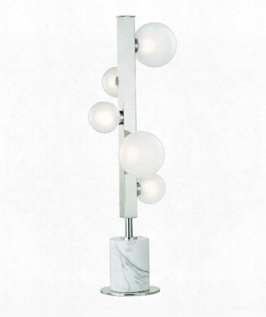 """Mini Hinsdale 6"""" Led 5 Light Table Lamp In Polished Nickel"""
