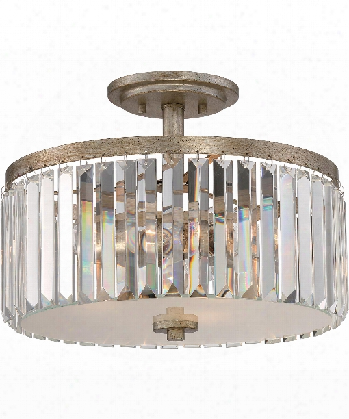 "Mirage 15"" 3 Light Semi Flush Mount In Vintage Gold"