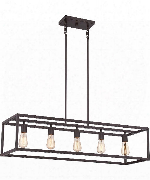 "New Harbor 38"" 5 Light Island Light In Western Bronze"