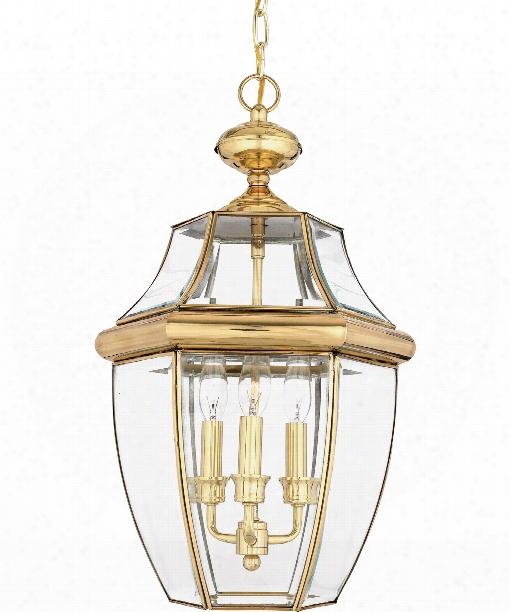 "Newbury 13"" 3 Light Outdoor Outdoor Hanging Lantern In Polished Brass"