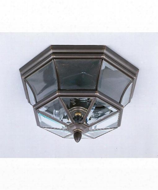 """Newbury 16"""" 3 Light Outdoor Outdoor Flush Mount In Medici Bronze"""