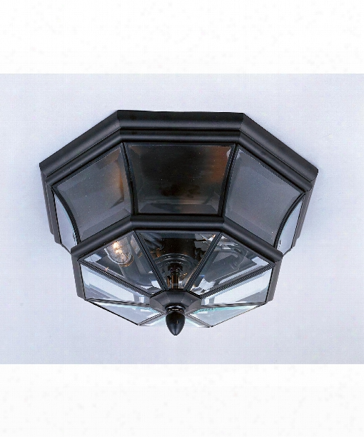 """Newbury 16"""" 3 Light Outdoor Outdoor Flush Mount In Mystic Black"""