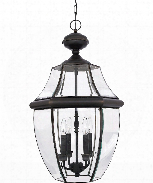 "Newbury 16"" 4 Light Outdoor Outdoor Hanging Lantern In Medici Bronze"