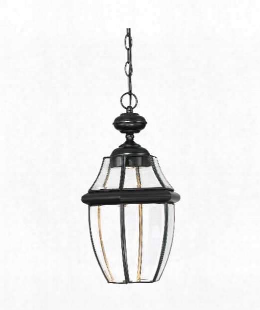 "Newbury Clear Led 11"" Led 1 Light Outdoor Outdoor Hanging Lantern In Mystic Black"
