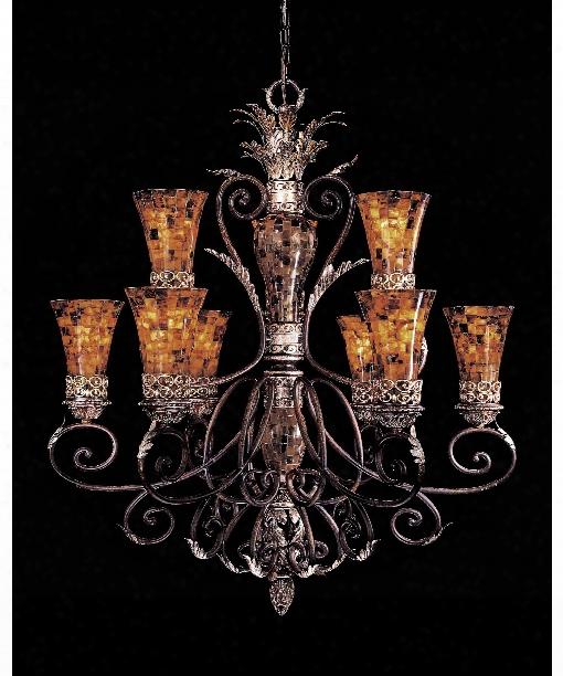 """Salamanca 40"""" 9 Light Chandelier In Cattera Bronze"""