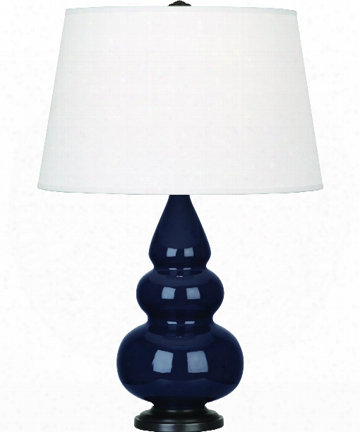 "Small Triple Gourd 5"" 1 Light Table Lamp In Bronze-midnight Blue"