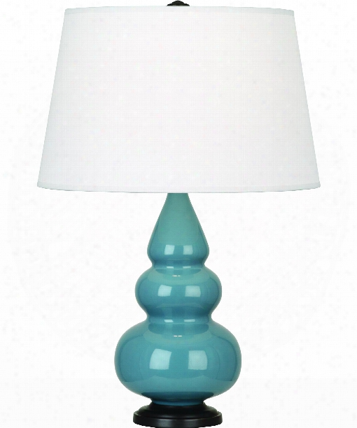 "Small Triple Gourd 5"" 1 Light Table Lamp In Bronze-steel Blue"