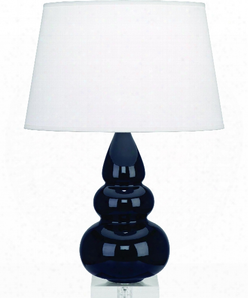"""Small Triple Gourd 6"""" 1 Light Table Lamp In Acrylic-midnight Blue"""