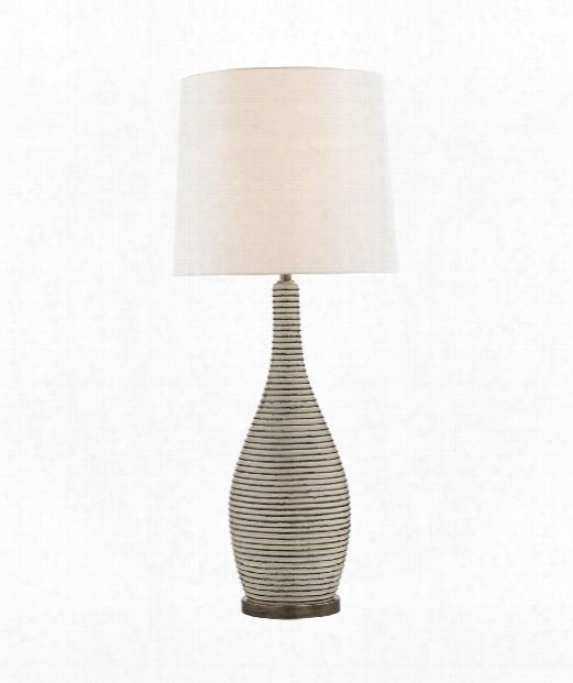 """Sonara 14"""" 1 Light Table Lamp In Ivory And Chalk Black Pearl"""