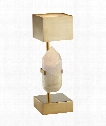 "Halcyon 6"" 1 Light Table Lamp in Natural Quartz Stone"