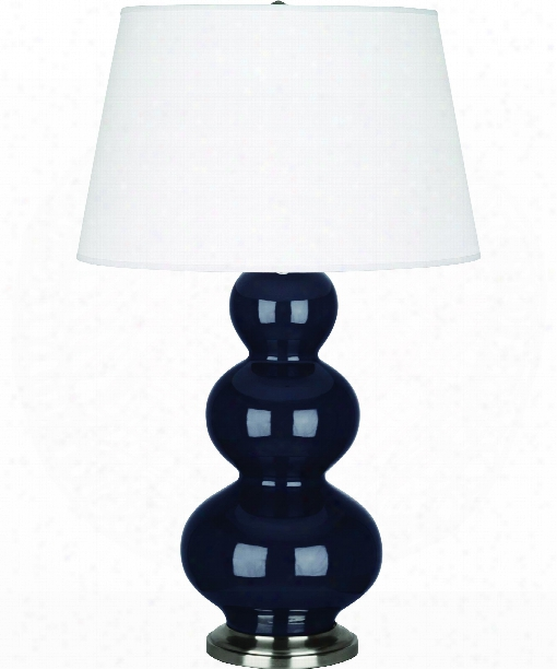 "Triple Gourd 8"" 1 Light Table Lamp In Antique Silver-midnight Blue"