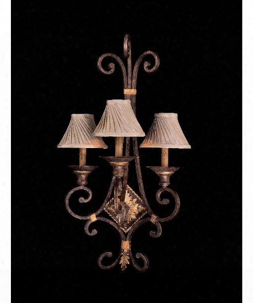 "Zaragoza 18"" 3 Light Wall Sconce In Golden Bronze"