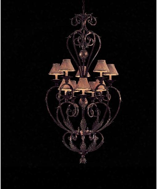"""Zaragoza 36"""" 10 Light Large Foyer Chandelier In Golden Bronze"""